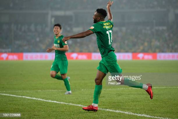 Cedric Bakambu of Beijing Guoan celebrates after scoring the first goal of his team during 2018 Chinese Super League between Beijing Guoan and Henan...