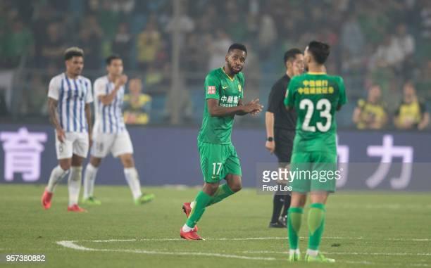 Cedric Bakambu of Beijing Guoan celebrates scoring his team's goal during 2018 China Super League match between Beijing Guoan and Guangzhou RF at...