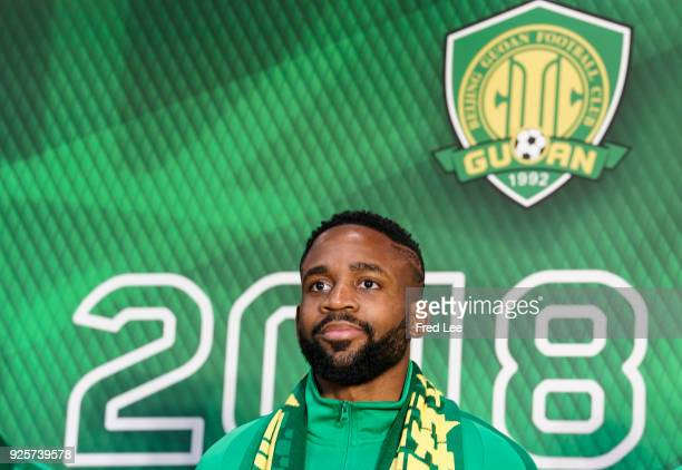 Cedric Bakambu of Beijing Guoan FC attends a press conference at Worker's Stadium on March 1 2018 in Beijing China