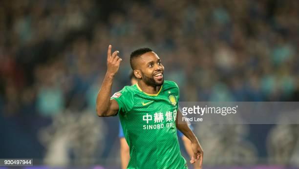 Cedric Bakambu of Beijing Guoan FC celebrates a goal during the 2018 Chinese Super League match between Jiangsu Suning and Beijing Guoan at Nanjing...