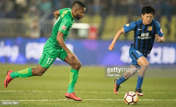 Cedric Bakambu of Beijing Guoan FC in action during the 2018 Chinese Super League match between Jiangsu Suning and Beijing Guoan at Nanjing Olympic...