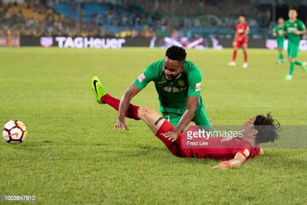 Cedric Bakambu of Beijing Guoan in action during 2018 Chinese Super League match between Beijing Guoan and Tianjin QuanJian at Beijing Workers...