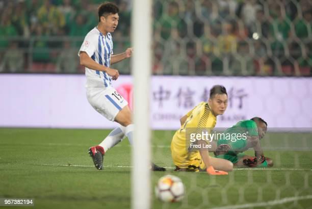 Cedric Bakambu of Beijing Guoan scores his team's goal during 2018 China Super League match between Beijing Guoan and Guangzhou RF at Beijing Workers...