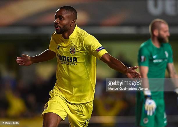 Cedric Bakambu of Villarreal celebrates scoring his team's first goal during the UEFA Europa League Quarter Final first leg match between Villarreal...