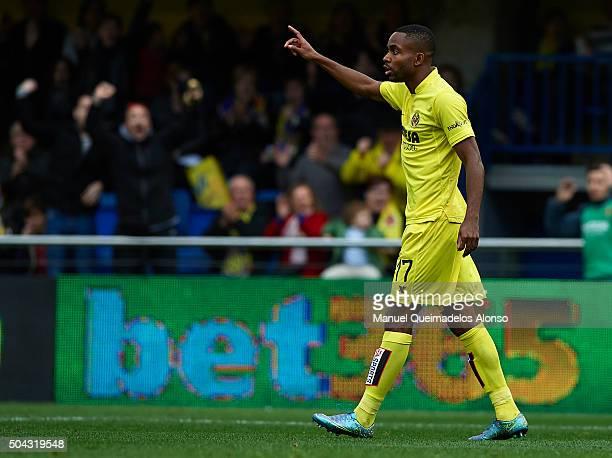 Cedric Bakambu of Villarreal celebrates scoring his team's second goal during the La Liga match between Villarreal CF and Real Sporting de Gijon at...