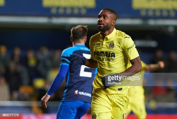 Cedric Bakambu of Villarreal CF celebrates after scoring a goal during the Copa del Rey Round of 32 Second Leg match between Villarreal CF and SD...