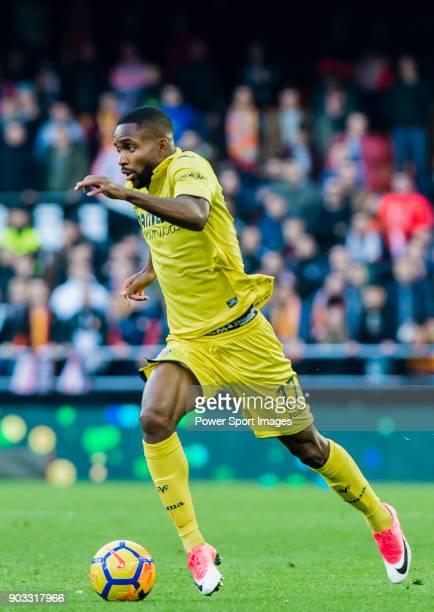 Cedric Bakambu of Villarreal CF in action during the La Liga 201718 match between Valencia CF and Villarreal CF at Estadio de Mestalla on 23 December...