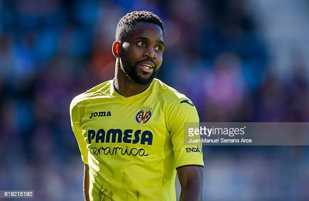 Cedric Bakambu of Villarreal CF reacts during the La Liga match between SD Eibar and Villarreal CF at Ipurua Municipal Stadium on October 30 2016 in...