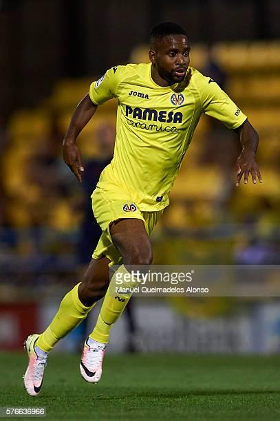 Cedric Bakambu of Villarreal in action during the friendly match between Villarreal CF and CD Hospitalet at Ciudad Deportiva of Miralcamp on July 16...