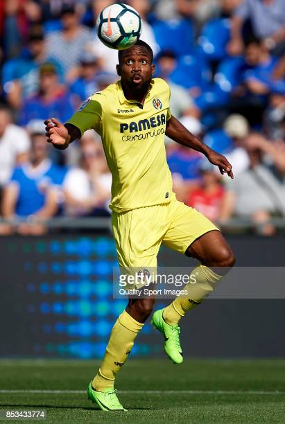 Cedric Bakambu of Villarreal in action during the La Liga match between Getafe and Villarreal at Coliseum Alfonso Perez on September 24 2017 in...