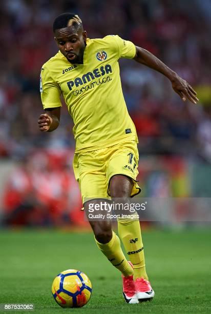 Cedric Bakambu of Villarreal in action during the La Liga match between Atletico Madrid and Villarreal at Estadio Wanda Metropolitano on October 28...