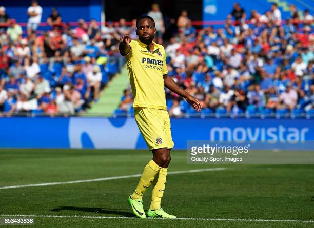 Cedric Bakambu of Villarreal reacts during the La Liga match between Getafe and Villarreal at Coliseum Alfonso Perez on September 24 2017 in Getafe...