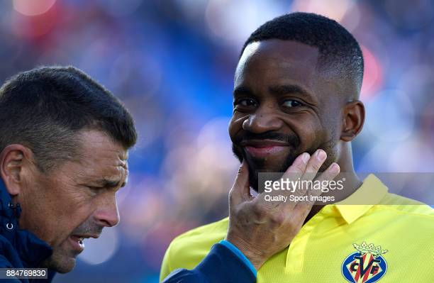 Cedric Bakambu of Villarreal reacts during the La Liga match between Leganes and Villarreal at Estadio Municipal de Butarque on December 3 2017 in...