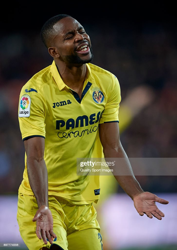 Cedric Bakambu of Villarreal reacts during the La Liga match between Valencia and Villarreal at Mestalla Stadium on December 23, 2017 in Valencia, Spain.