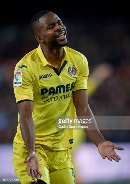 Cedric Bakambu of Villarreal reacts during the La Liga match between Valencia and Villarreal at Mestalla Stadium on December 23 2017 in Valencia Spain
