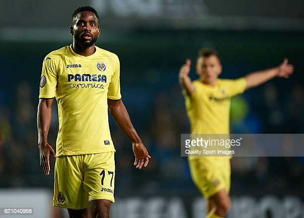 Cedric Bakambu of Villarreal reacts during the UEFA Europa League Group L match between Villarreal CF and Osmanlsport at El Madrigal on November 03...