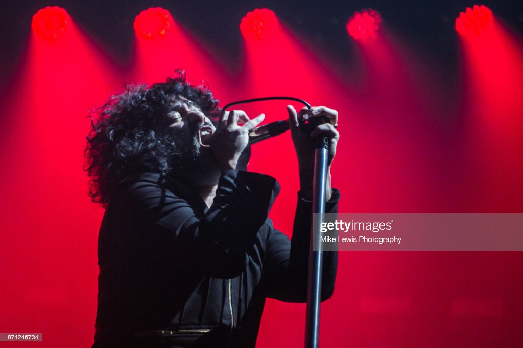 Cedric Bixler of At The Drive In performs at Motorpoint Arena on November 13, 2017 in Cardiff, Wales.