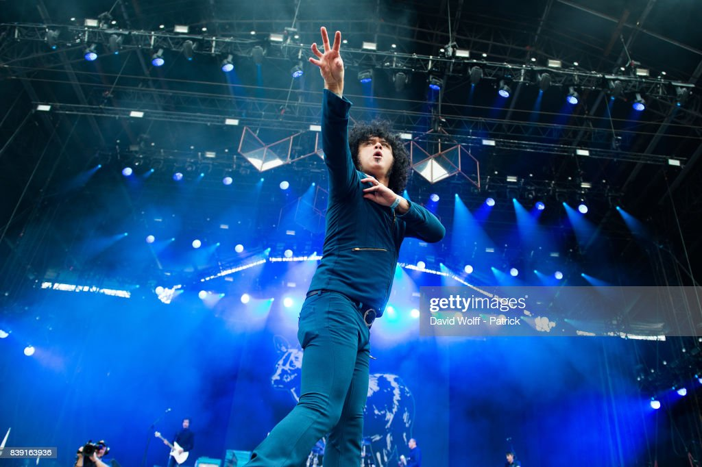 Cedric Bixler-Zavala from At the Drive - In performs at Domaine National de Saint-Cloud on August 25, 2017 in Paris, France.