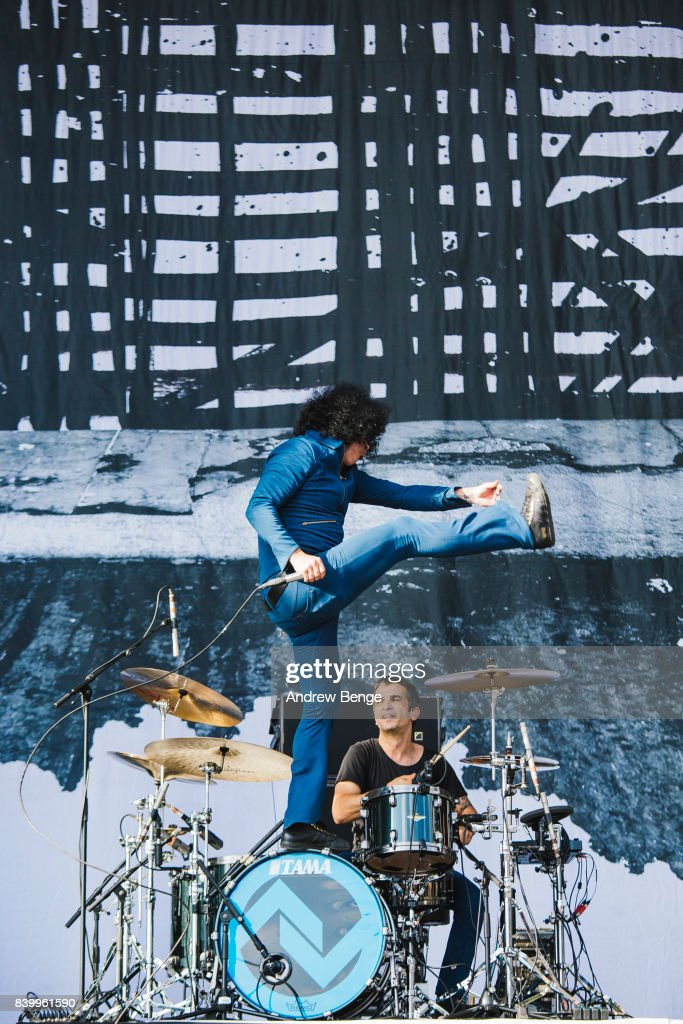 Cedric Bixler-Zavala of At The Drive-In performs on the main stage during day 3 at Leeds Festival at Bramhall Park on August 27, 2017 in Leeds, England.
