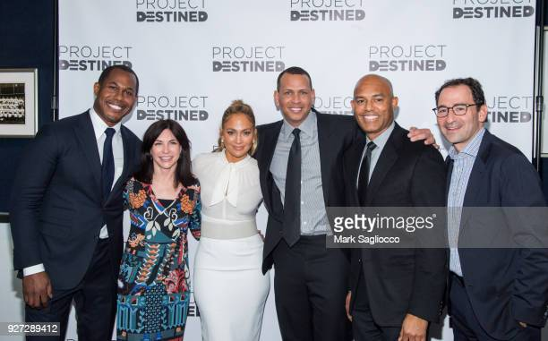Cedric Bobo Guest Jennifer Lopez Alex Rodriguez Mariano Rivera Diana Olick and Jon Gray attend 'Project Destined' Yankees Shark Tank Presentations at...
