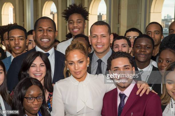 Cedric Bobo Jennifer Lopez and Alex Rodriguez attend the 'Project Destined' Yankees Shark Tank Presentations at Yankee Stadium on March 4 2018 in New...