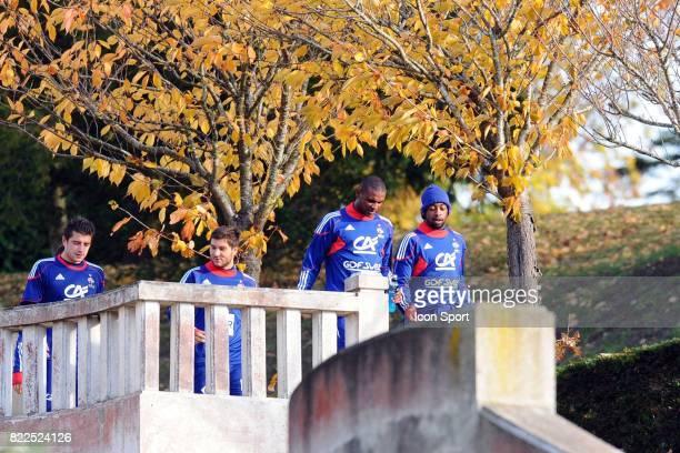 Cedric CARRASSO / Andre Pierre GIGNAC / Eric ABIDAL / Sydney GOVOU Entrainement equipe de France Barrages Coupe du Monde 2010 Clairefontaine