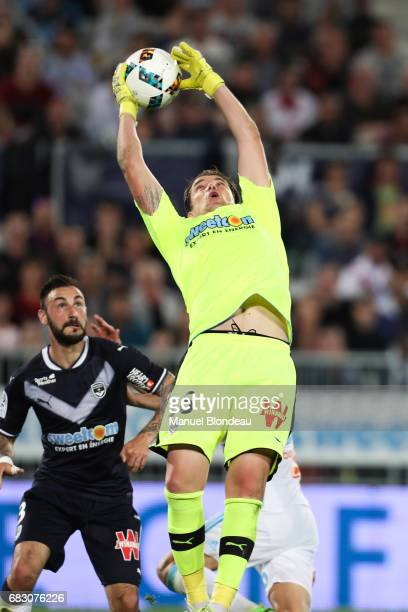 Cedric Carrasso of Bordeaux makes a save during the Ligue 1 match between Girondins de Bordeaux and Olympique de Marseille at Nouveau Stade de...
