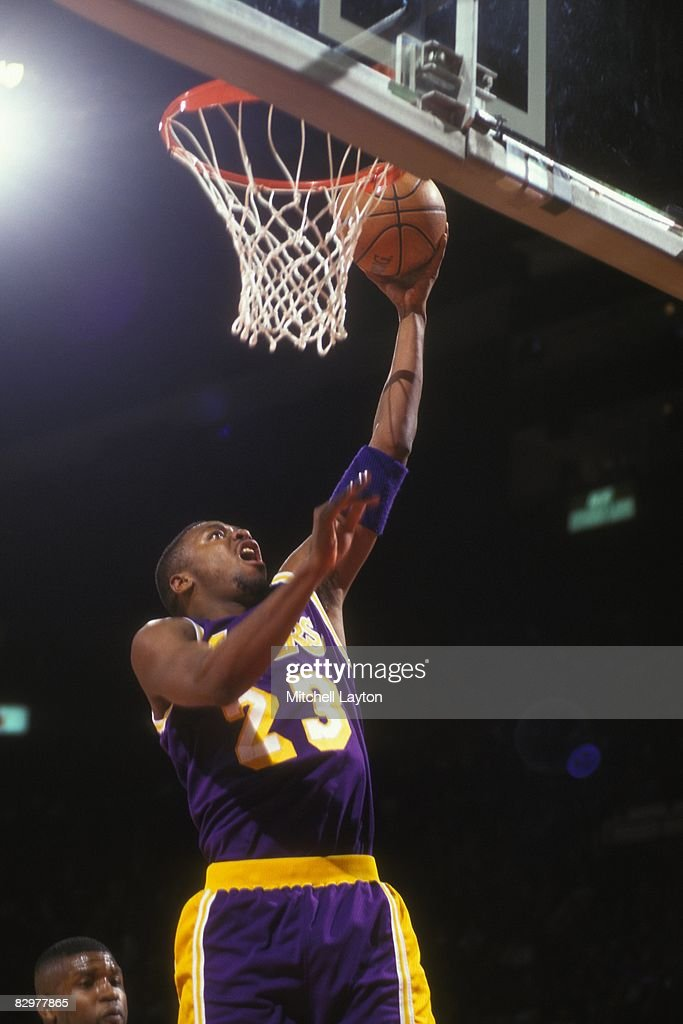 31a276601 Cedric Ceballos of the Los Angeles Lakers goes for a layup during a ...