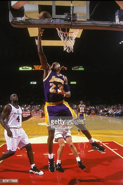 b8f43cf9b Cedric Ceballos of the Los Angeles Lakers goes for a layup during a NBA  basketball game