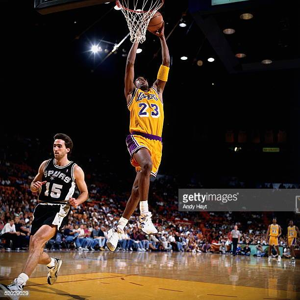 1882398ac Cedric Ceballos of the Los Angeles Lakers goes up for a slam dunk against  the San