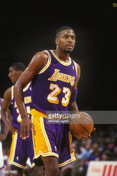 13d4557c6 Cedric Ceballos of the Los Angeles Lakers takes a foul shot during a NBA  basketball game