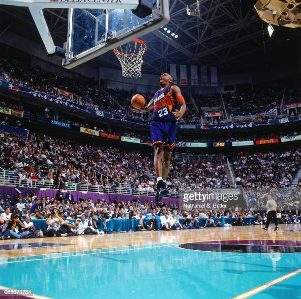 Cedric Ceballos of the Phoenix Suns attempts a dunk during the 1993 Slam Dunk Contest on February 20 1993 at the Delta Center in Salt Lake City Utah...