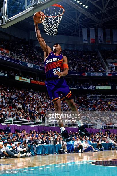 Cedric Ceballos of the Phoenix Suns attempts a dunk during the 1993 NBA Slam Dunk Contest on February 20 at the Delta Center in Salt Lake City Utah...