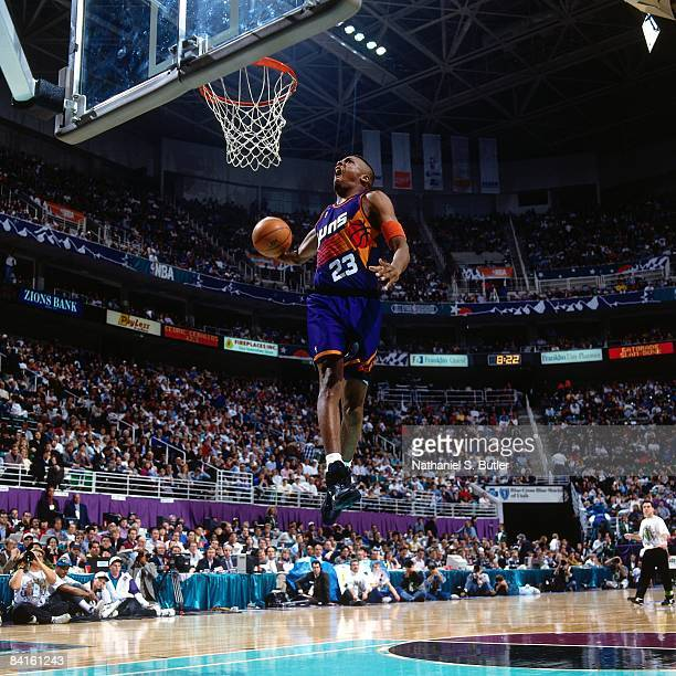 Cedric Ceballos of the Phoenix Suns attempts a dunk during the 1993 Slam Dunk Contest as part of All Star Weekend on February 20 1993 at the Delta...