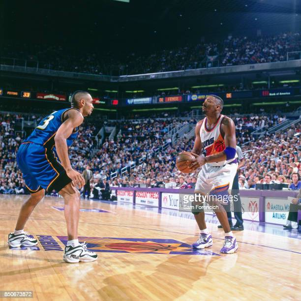Cedric Ceballos of the Phoenix Suns shoots against the Detroit Pistons against the Sacramento Kings circa 1997 at America West Arena in Phoenix...