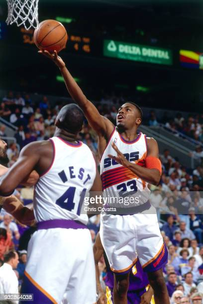 Cedric Ceballos of the Phoenix Suns shoots on March 13 1994 at America West Arena in Phoenix Arizona NOTE TO USER User expressly acknowledges and...