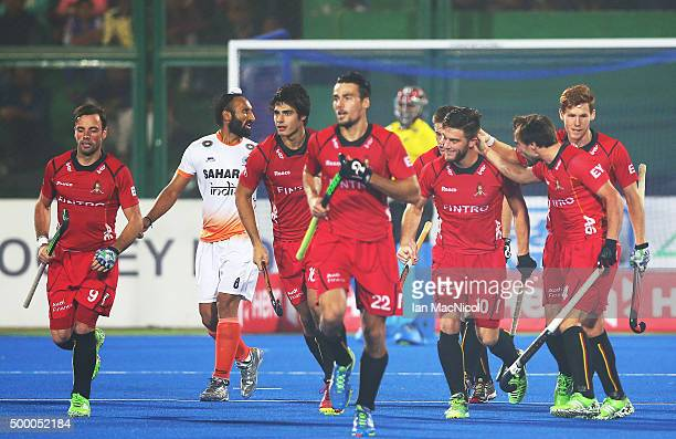 Cedric Charlier of Belgium celebrates after he scores during the match between India and Belgium on day nine of The Hero Hockey League World Final at...
