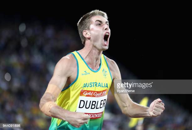 Cedric Dubler of Australia celebrates as he competes in Men's Decathlon Javelin during the Athletics on day six of the Gold Coast 2018 Commonwealth...