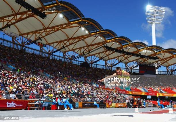Cedric Dubler of Australia competes in the Men's Decathlon Long Jump during the Athletics on day five of the Gold Coast 2018 Commonwealth Games at...
