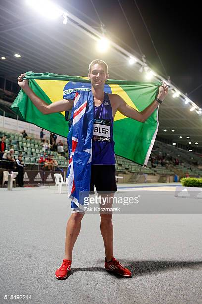 Cedric Dubler of Queensland celebrates after qualifying for the 2016 Olympic Games during the Australian Athletics Championships at Sydney Olympic...