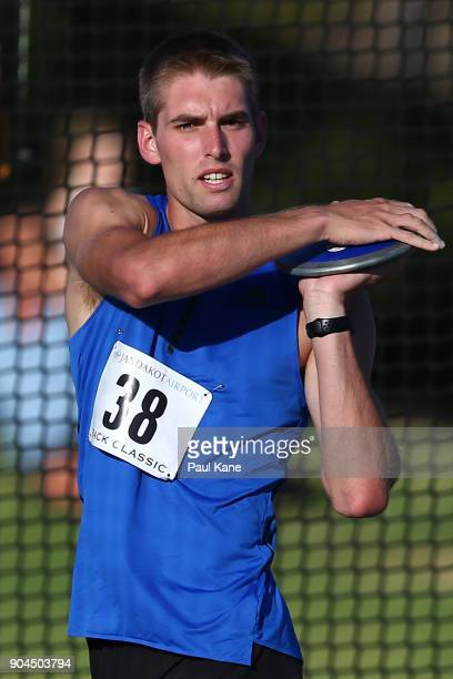Cedric Dubler of Queensland competes in the men's discus throw during the Jandakot Airport Perth Track Classic at WA Athletics Stadium on January 13...