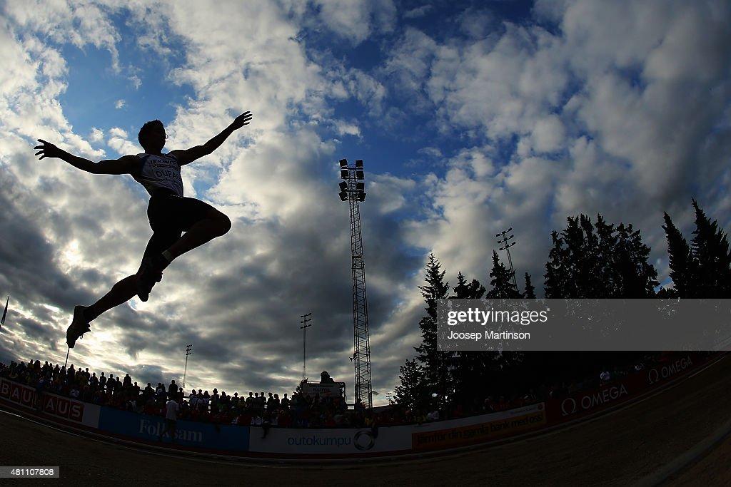Cedric Dufag of France competes during the Men's Long Jump final at Ekangen Arena on July 17, 2015 in Eskilstuna, Sweden.