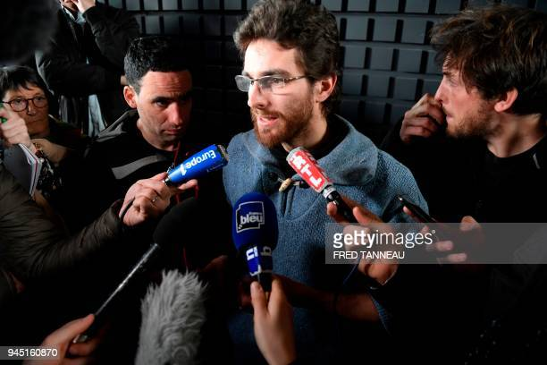 Cedric Dussart representative of an occupant evicted on April 9 from a farm called 'Les 100 noms' at the ZAD of NotreDamedesLandes speaks to media...