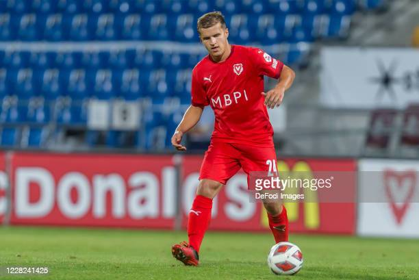 Cedric Gasser of FC Vaduz controls the Ball during the UEFA Europa League qualification match between FC Vaduz and Hibernians F.C. At Rheinpark...