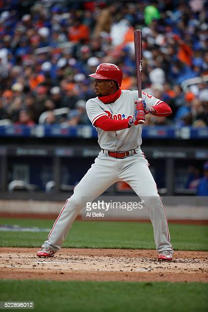 Cedric Hunter of the Philadelphia Phillies bats against the New York Mets during the Mets Home Opening Day at Citi Field on April 8 2016 in New York...