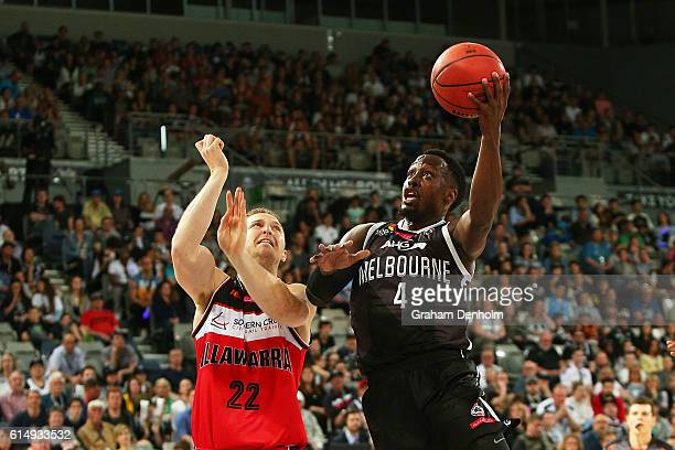 Cedric Jackson of Melbourne United drives at the basket during the round two NBL match between Melbourne United and the Illawarra Hawks on October...