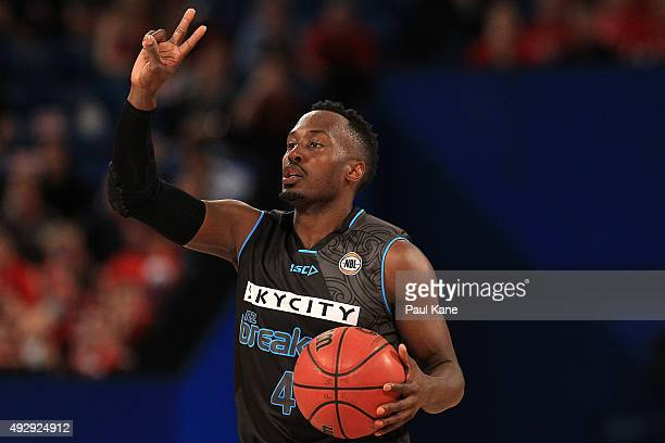 Cedric Jackson of the Breakers calls a play during the round two NBL match between the Perth Wildcats and the New Zealand Breakers at the Perth Arena...