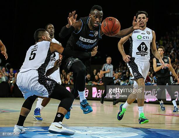 Cedric Jackson of the Breakers is fouled during the NBL Semi Final match between the New Zealand Breakers and Melbourne United at Vector Arena on...