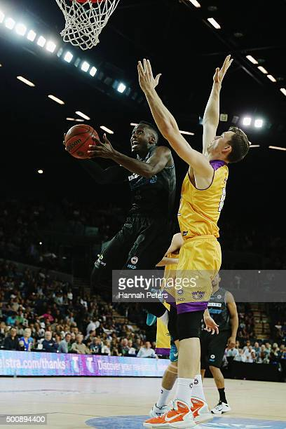 Cedric Jackson of the Breakers lays the ball up during the round 10 NBL match between the New Zealand Breakers and the Sydney Kings at Vector Arena...