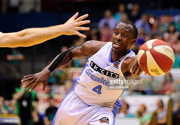 Cedric Jackson of the Breakers passes the ball during the round 14 NBL match between the Townsville Crocodiles and the New Zealand Breakers at...